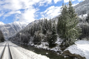 sky, snow, road, river, tree, weather, winter, wood