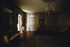 Design, lamp, kamer, Bank, muur, tapijt, kroonluchter, interieur