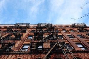 Sky, urban, steny, okná, architektúra, tehla, budova, mesto