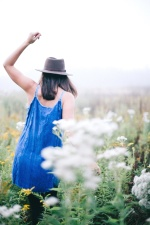 girl, grass, woman, hat, field, flowers, freedom
