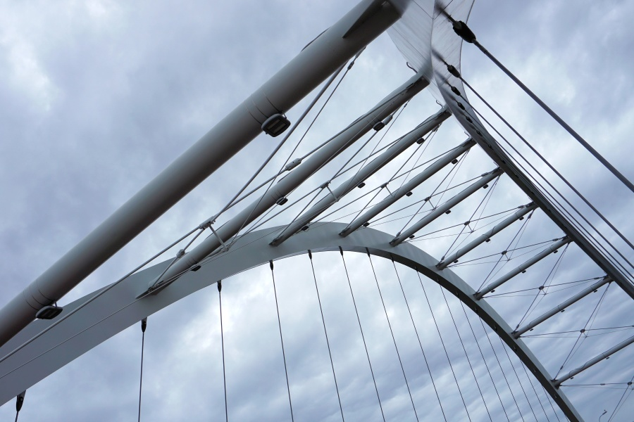 футуристичен, архитектура, мост, сграда, желязо, модерни, стомана, градски
