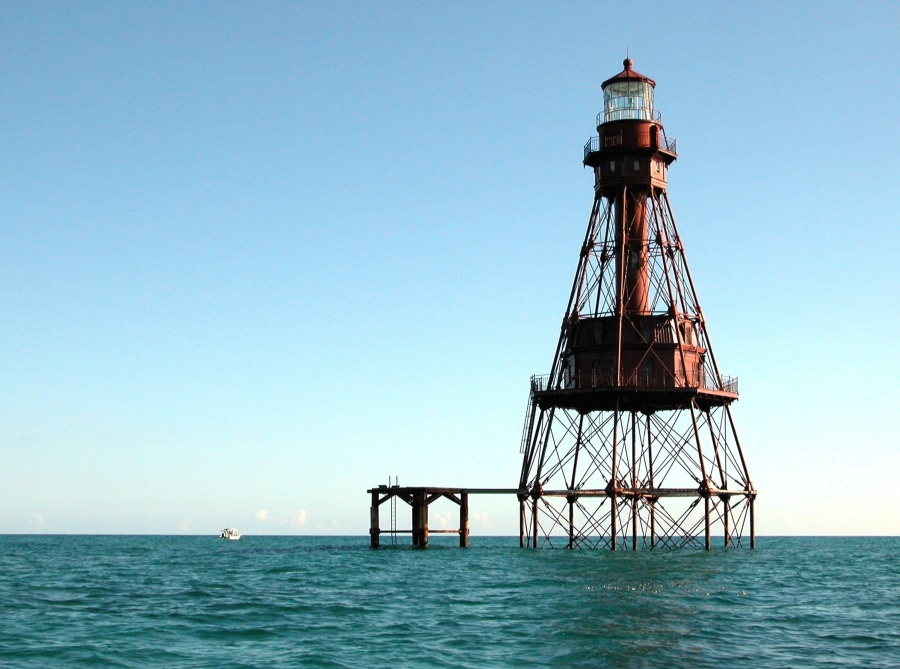 havet, sjø, vann, fyrtårn, horisonten