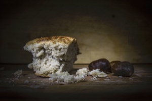 food, fruit, still life, nuts, bread, crumbs