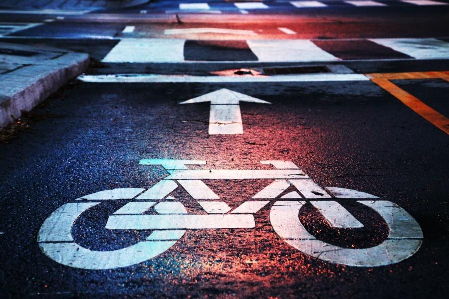 Graffiti, asphalte, chaussée, reflet, route, panneau