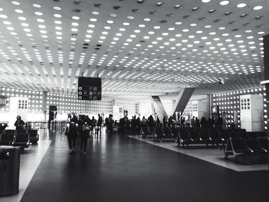 Letiště, židle, město, dav, místnost, cestování