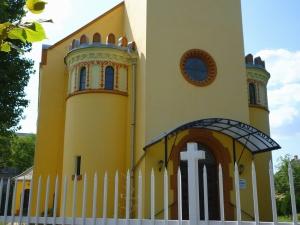 templom, kereszt, ablak, építészet, épület, kerítés