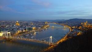 city, river, bridge, landscape, sky, lighting