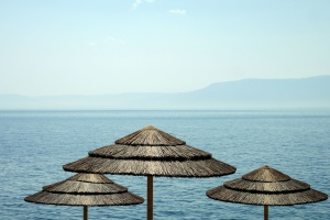 sea, sky, water, beach, water, parasol