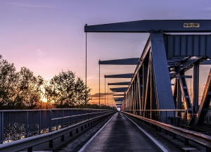 architecture, bridge, railings, railroad, road, sidewalk, steel, dusk
