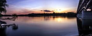 Río, silueta, sol, viaje, árbol, agua, paisaje, reflexión