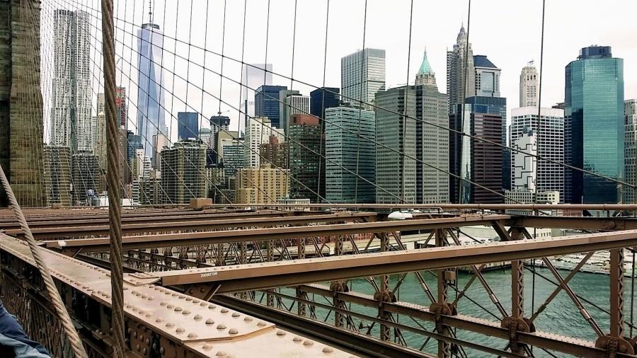 Urbain, eau, architecture, pont, bâtiments, commerces, ville