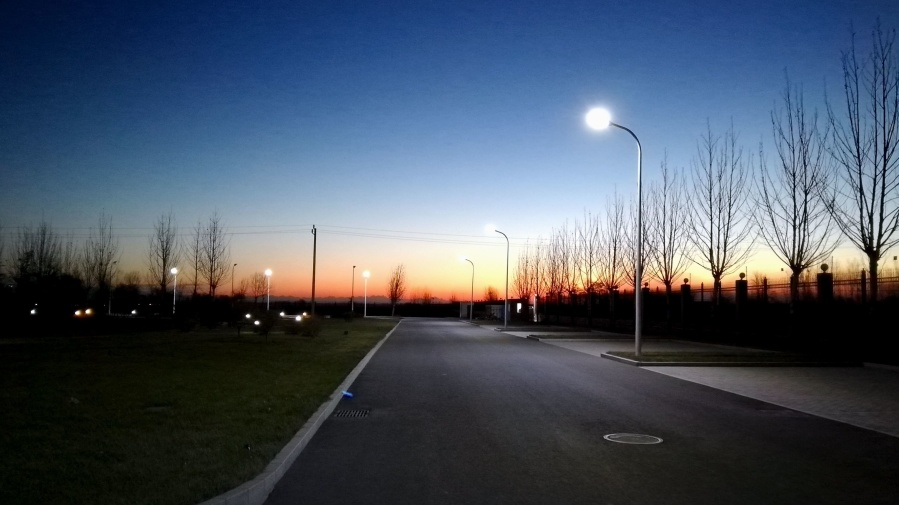 Noche, urbano, asfalto, calle, lámpara, paisaje, luz, noche
