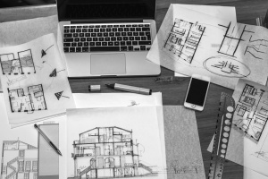 architect, work, desk, drawings, blueprint