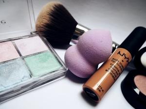 skönhet, smink, makeupartist, färger, svamp, tabell