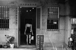 door, windows, woman, bag, flower pots, window