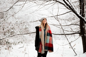 snow, tree, weather, winter, woman, wood