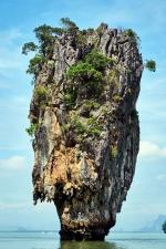 Cielo, árboles, tropical, agua, isla, paisaje, mar