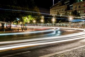 Autobahn, Licht, Lichter, Baum, Stadt, Gebäude, Geschwindigkeit, Straße