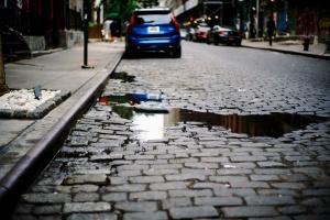 pavimento, estrada, rua, urbana, água, carro, cidade, asfalto