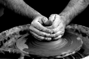 clay, craft, hands, man, wheel, pottery