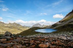 바위, 하늘, 여름, 계곡, 물, 호수, 풍경, 산