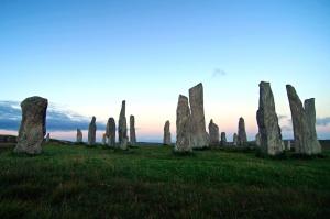 Piedra, círculo, sol, hierba, paisaje, monolito, naturaleza