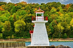 lighthouse, ocean, rocks, stone, tree, water, wood