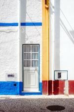 Puerta, pared, edificio, exterier, pared