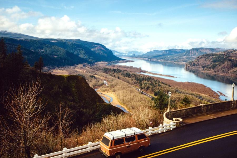 river, road, highway, landscape, mountains, asphalt, car