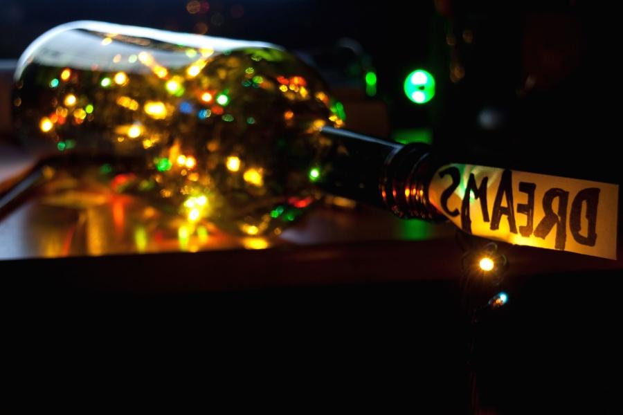 natt, uteliv, flaska, mörka, fira, city, färgglada