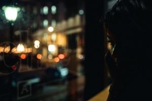 Sombra, oscuro, niña, ciudad, luz, noche