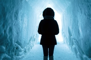 tunnel, winter, woman, cave, cold, frozen, ice