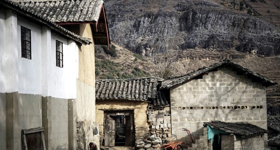 Architektura, vesnice, dřevo, dům, krajina, hory