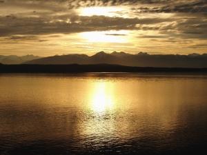 Crepúsculo, lago, paisagem, natureza, céu de natureza, fulgor céu, pôr do sol, montanha