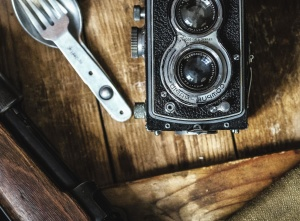 analog, antique, photo camera, desk, lens, object, photography, spoon, wood