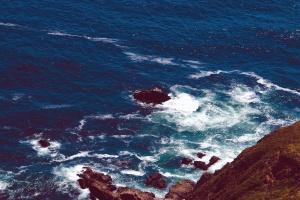 Agua, ondas, bahía, playa, acantilado, costa, mar