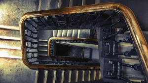 interior, stairs, staircase, architecture, perspective, wooden