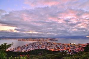 Miasto, Zmierzch, krajobraz, natura, natura niebo, niebo, blask niebo, zachód słońca