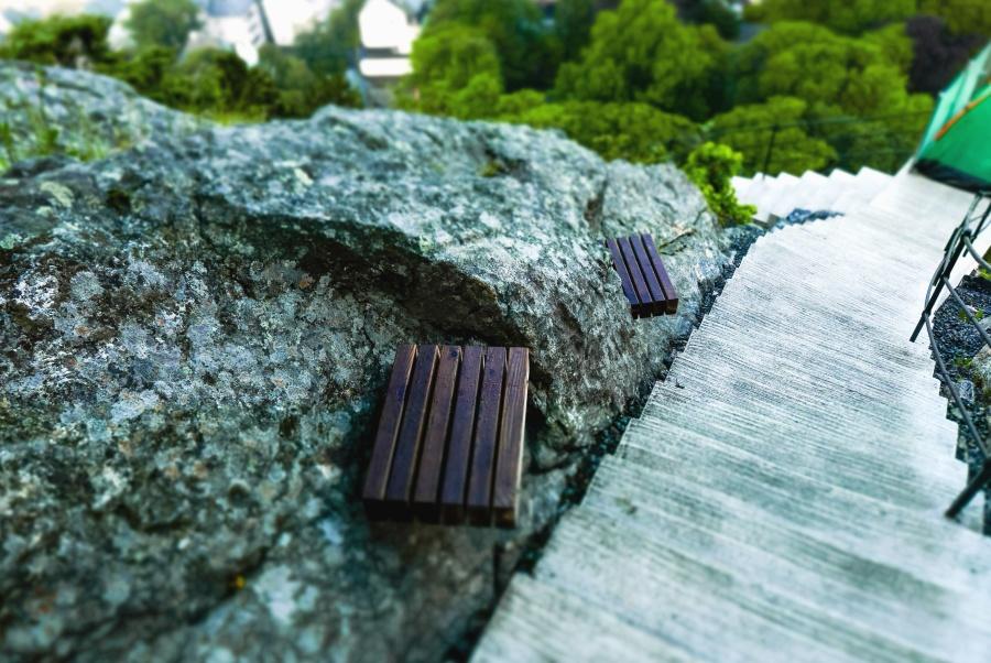 trappor, sten, sommar, träd, bänk, staket