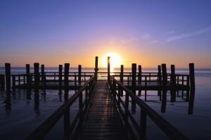 beach, coast, wooden flooring, dock, dusk, ocean, pier, sunset