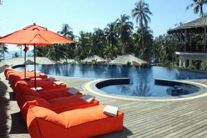 Außen, luxus, sommer, schwimmbad, hotel, palme, baum