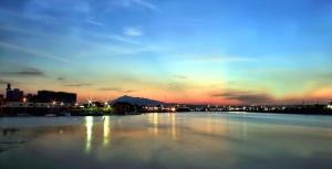 Riflessione, fiume, cielo, città, acqua, panoramico
