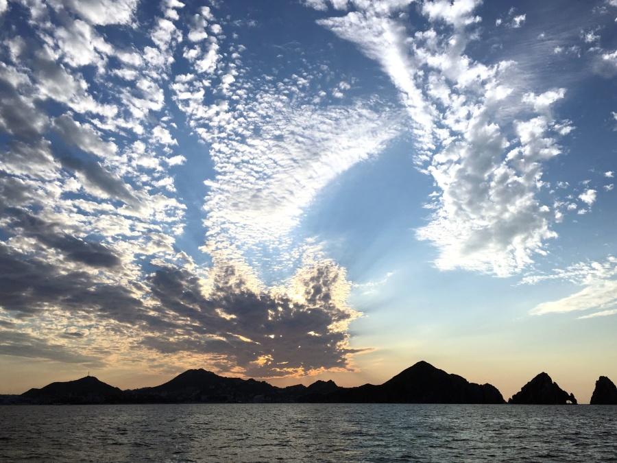 błękitne niebo, chmury, chmury, Zmierzch, horyzont, krajobraz, natura, natura niebo, ocean, niebo