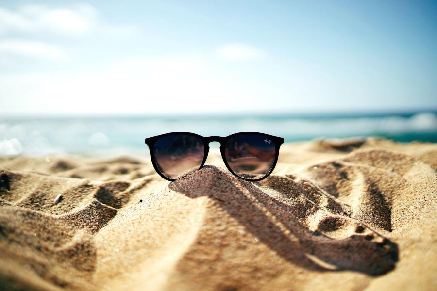 Orilla, playa, océano, arena, verano, gafas de sol, sol