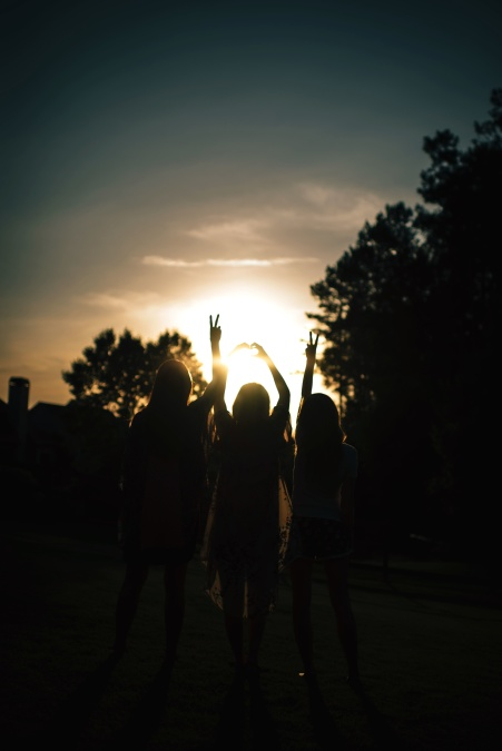 tree, girls, group, people, silhouette