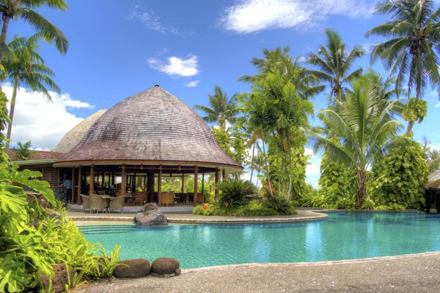 Hotel, luksusowe, palmy, lato, basen, Podróże, tropic