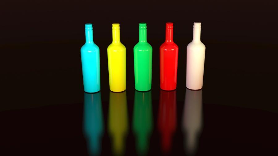 Colori, arte, bottiglie, colorito, disegno, riflessione
