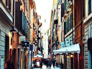 Street, turist, alley, gamle, arkitektur, bygninger, byen