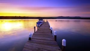 Sole, acqua, bello, barca, dock, riflessione, fiume, cielo