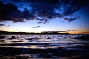 Soleil, eau, bord de la mer, silhouette, ciel, mer, plage, nature